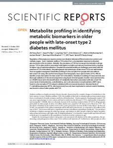 Metabolite profiling in identifying metabolic ...