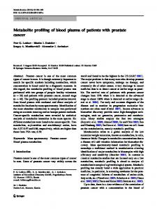Metabolite profiling of blood plasma of patients with ... - Springer Link
