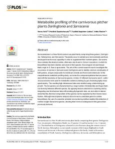 Metabolite profiling of the carnivorous pitcher plants ... - PLOS