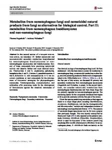 Metabolites from nematophagous fungi and ... - Springer Link
