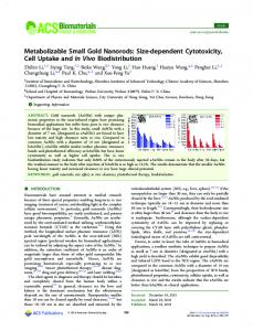 Metabolizable Small Gold Nanorods: Size ... - ACS Publications