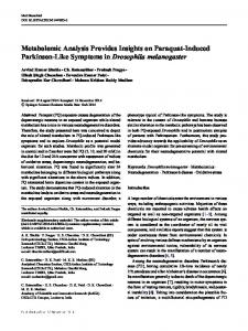 Metabolomic Analysis Provides Insights on Paraquat