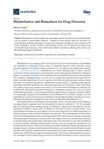 Metabolomics and Biomarkers for Drug Discovery - MDPI