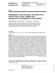 Metabolomics and Proteomics, and What to Do with ...