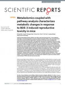 Metabolomics coupled with pathway analysis characterizes metabolic ...