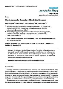 Metabolomics for Secondary Metabolite Research - Semantic Scholar