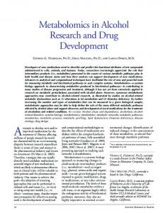 Metabolomics in Alcohol Research and Drug Development