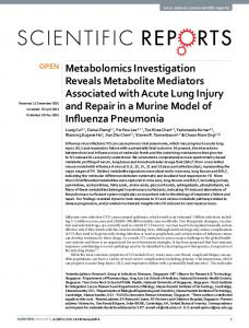 Metabolomics Investigation Reveals Metabolite ... - Semantic Scholar