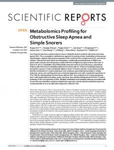 Metabolomics Profiling for Obstructive Sleep Apnea ...