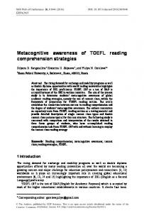 Metacognitive awareness of TOEFL reading comprehension strategies