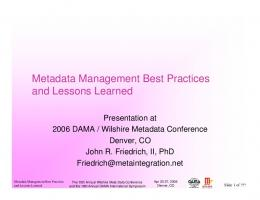 Metadata Management Best Practices and Lessons Learned