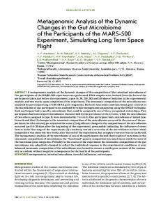 Metagenomic Analysis of the Dynamic Changes in