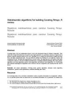 Metaheuristic algorithms for building Covering ... - SciELO Colombia