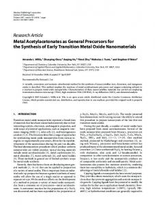 Metal Acetylacetonates as General Precursors for the Synthesis of ...