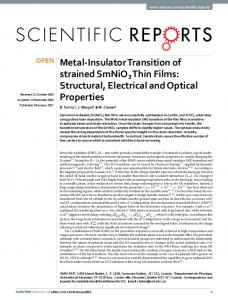 Metal-Insulator Transition of strained SmNiO3 Thin