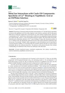 Metal Ion Interactions with Crude Oil Components: Specificity of Ca2+
