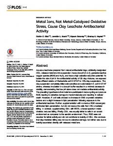 Metal Ions, Not Metal-Catalyzed Oxidative Stress, Cause Clay ...