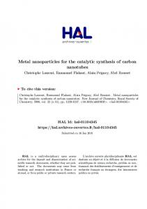 Metal nanoparticles for the catalytic synthesis of carbon nanotubes - Hal