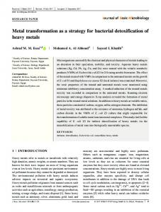 Metal transformation as a strategy for bacterial ... - Wiley Online Library