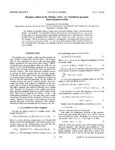 Metallic surfaces in the Thomas--Fermi - APS Link Manager