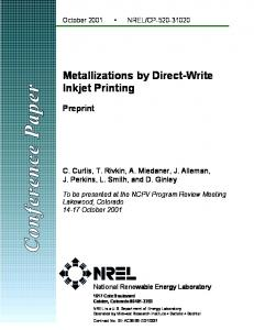 Metallizations by Direct-Write Inkjet Printing: Preprint