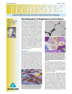 Metallography of Magnesium and its Alloys