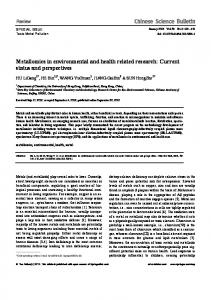 Metallomics in environmental and health related research ... - Core