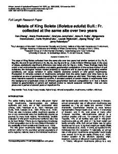 Metals of King Bolete (Boletus edulis) Bull.: Fr. collected at the same ...