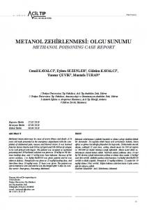 metanol zehirlenmesi: olgu sunumu - Journal of Emergency Medicine