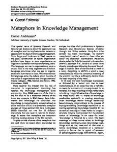 Metaphors in knowledge management - Wiley Online Library
