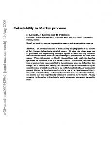 Metastability in Markov processes