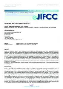 Metastasis and circulating tumor cells - IFCC