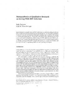 Metasynthesis of Qualitative Research on Living With HIV Infection