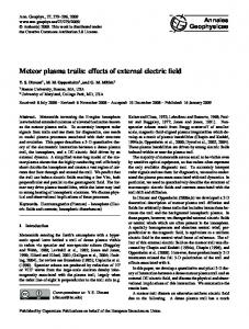 Meteor plasma trails: effects of external electric field - ann-geophys.net