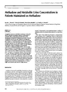 Methadone and Metabolite Urine Concentrations in Patients ...