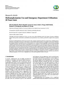 Methamphetamine Use and Emergency Department Utilization: 20 ...