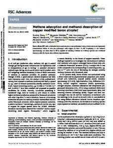 Methane adsorption and methanol desorption of