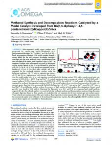 Methanol Synthesis and Decomposition Reactions ... - ACS Publications
