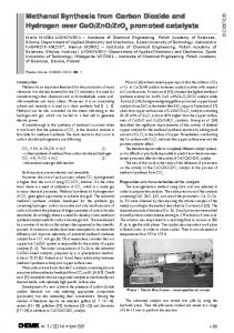 Methanol Synthesis from Carbon Dioxide and ...
