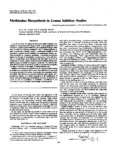 Methiomne Biosynthesis in Lemna: Inhibitor Studies - NCBI