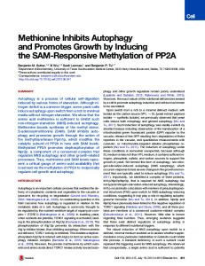 Methionine Inhibits Autophagy and Promotes Growth by ... - Cell Press