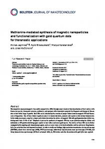 Methionine-mediated synthesis of magnetic nanoparticles and ...