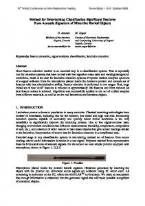 Method for Determining Classification Significant Features ... - CiteSeerX