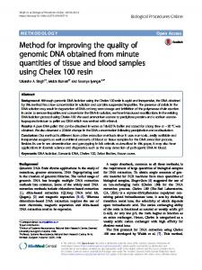 Method for improving the quality of genomic DNA obtained from ...