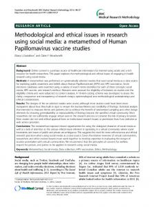 Methodological and ethical issues in research using social media: a ...