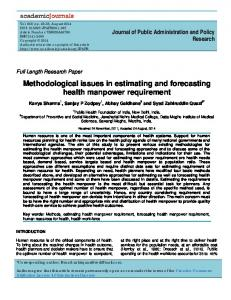 Methodological issues in estimating and forecasting health manpower ...