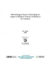 Methodological Issues in Identifying the Impact of Research Projects
