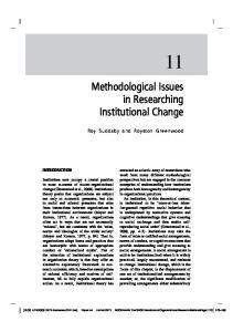 Methodological Issues in Researching Institutional ...