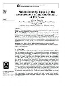 Methodological issues in the measurement of multinationality of US firms