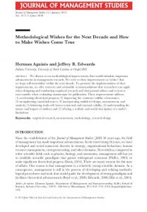 Methodological Wishes for the Next Decade and ... - Herman Aguinis